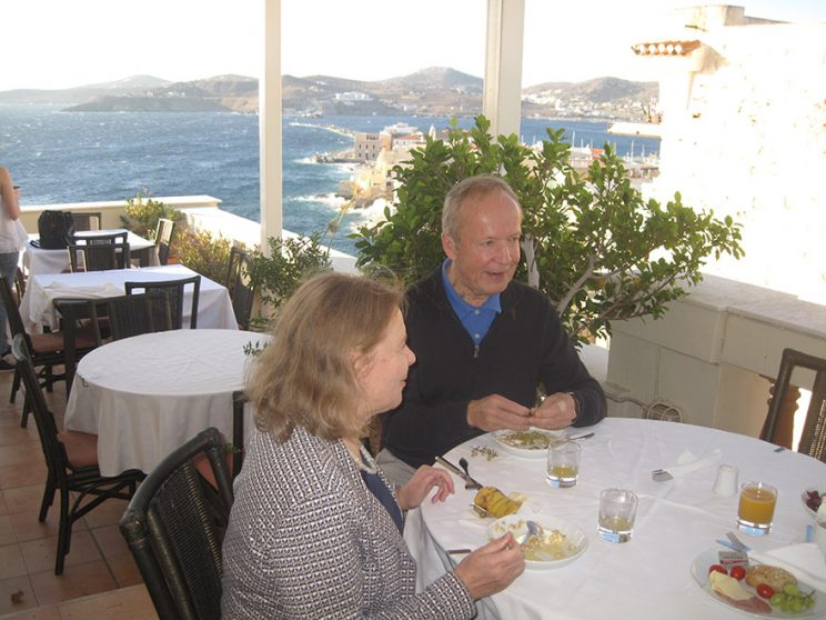 Breakfast at the hotel Syrou Melathron, Syros, Greece, Eila and Eero Tarasti Oct 3, 2017