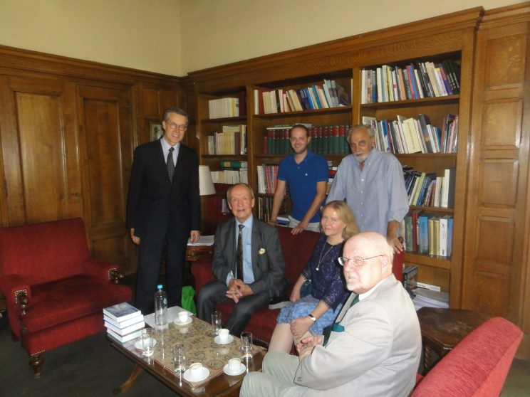 A preparatory meeting the previous at the Centre for Hellenic Culture in Athens, from the left: Embassador Pauli Mäkelä, ET, Lazaros Papoutsis, Eila Tarasti, Professor Tsoukalas, Head of the Center, and Professor Hannu Riikonen