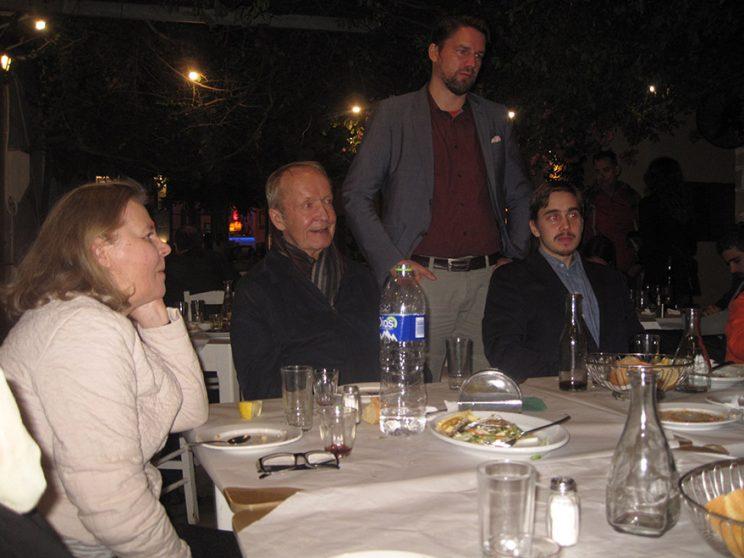 Eila an Eero Tarasti, Dr Samuli Salmi and doc. student Aleksi Haukka