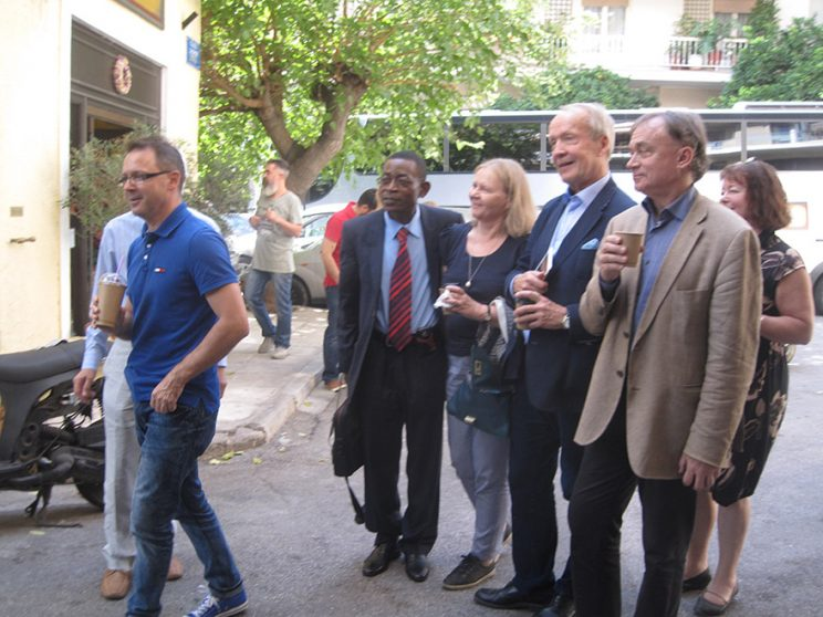 Kristian Bankov and others in front of the Finnish Institute in Athens